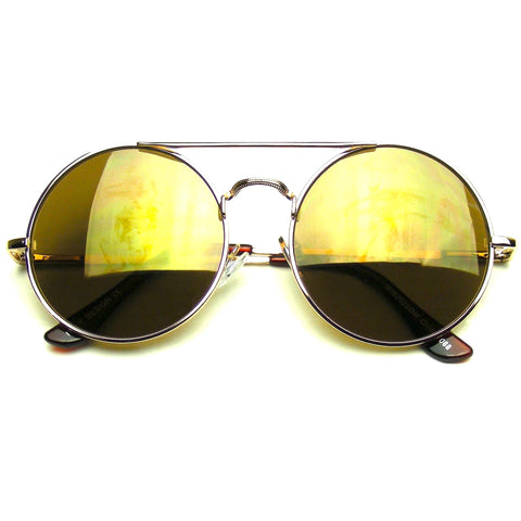 Gold Steampunk CrossBar Round Circle Flash Mirror Sunglasses
