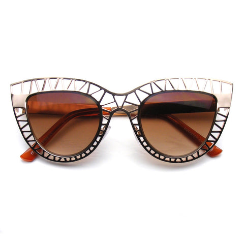 Gold Womens Indie Cat Eye Sunglasses Trendy Fashion Metal Cut Out Shop Emblem Eyewear!