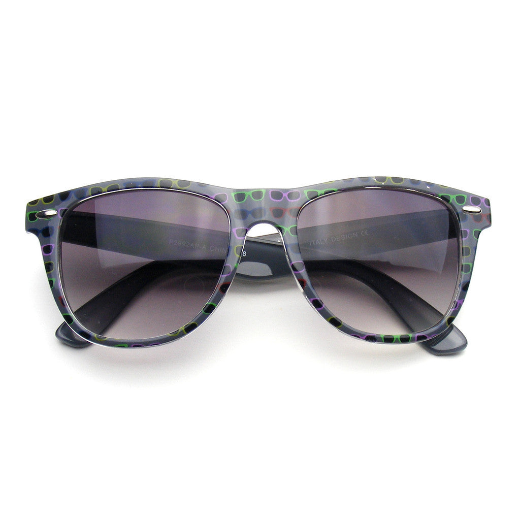 cb815511ab ... Horned Rim Sunglasses. Gray Sunglasses Retro Indie Fun Color Pattern  Print Wayfarer Sunglasses Shop Emblem Eyewear!