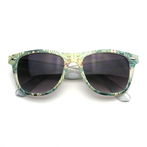Green Forrest Retro Indie Fun Color Pattern Print Wayfarer Sunglasses Shop Emblem Eyewear!