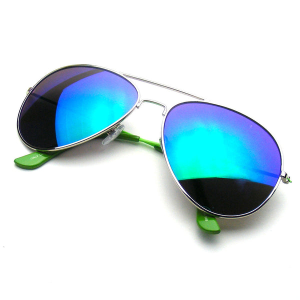 Green Reflective Revo Flash Full Mirrored Aviator Sunglasses Shop Emblem Eyewear!