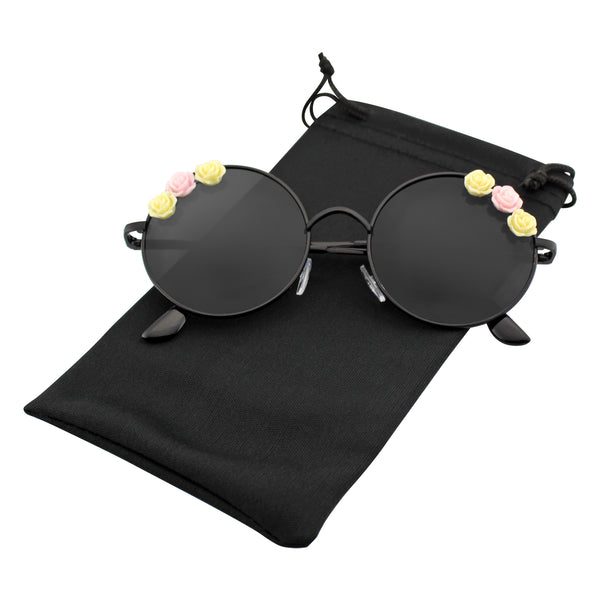 Flower Metal Round Sunglasses | Emblem Eyewear - Women's Flower Hippie Floral Metal Round Sunglasses