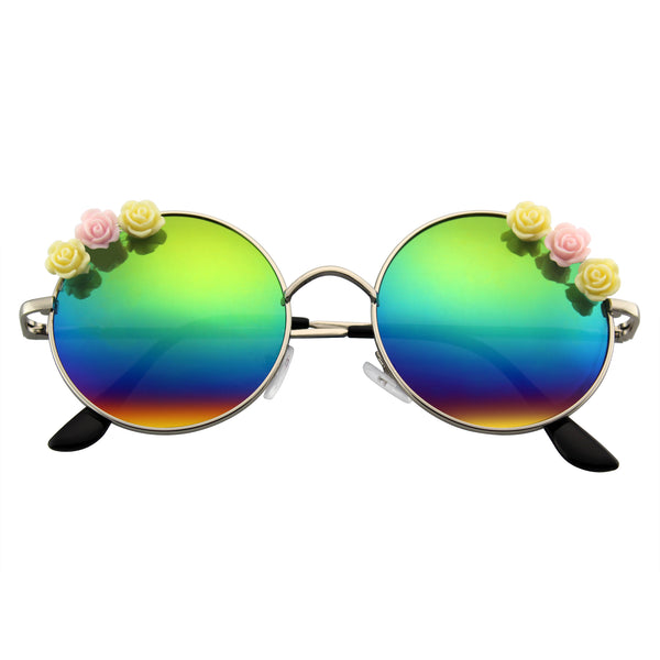 Flower Metal Round Sunglasses | Emblem Eyewear - Flower Sunglasses Hippie Boho Festival Circle Round Sunglasses