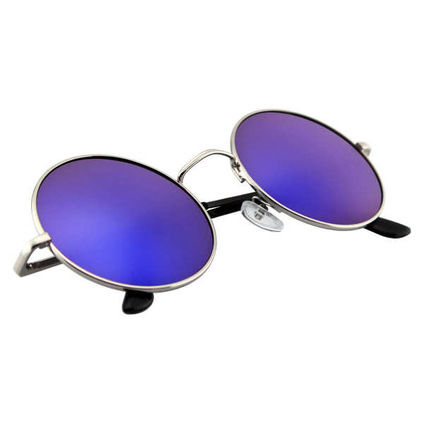 Emblem Eyewear - Premium Round Metal Mirrored Full Mirror Circle Sunglasses