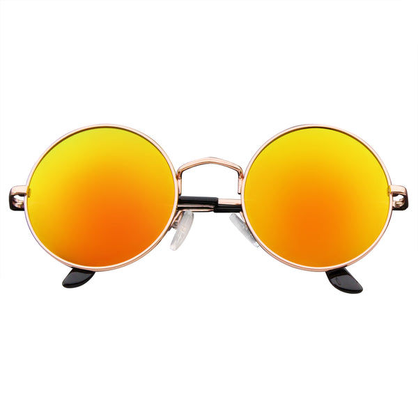 Retro Reflective Colored Lenses| Emblem Eyewear - John Lennon Inspired Sunglasses Round Hippie Shades Retro Reflective Colored Lenses