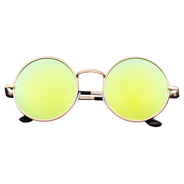 Retro Reflective Colored Lenses | Emblem Eyewear - John Lennon Inspired Sunglasses Round Hippie Shades Retro Reflective Colored Lenses