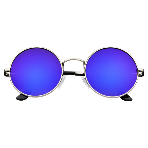 Emblem Eyewear - John Lennon Inspired Sunglasses Round Hippie Shades Retro Reflective Colored Lenses