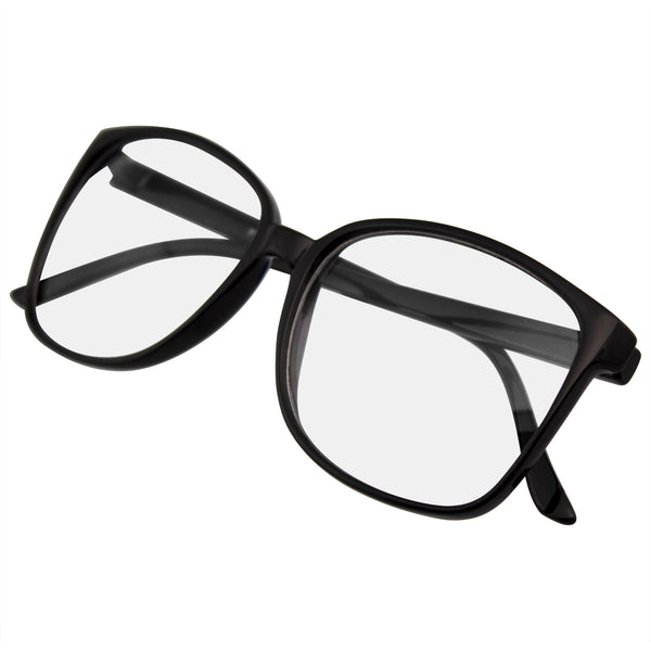 Emblem Eyewear - Large Oversized Horn Rim Glasses Clear Lens Thin Frame Nerd Glasses