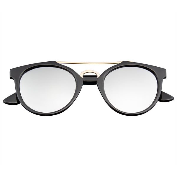 Emblem Eyewear - Vintage Inspired Dapper Cross Bar Horned Rim Flash Mirror Lens Sunglasses