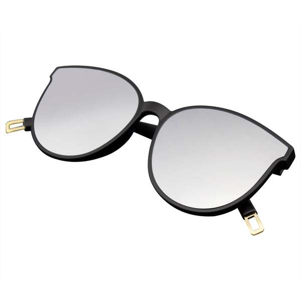 Emblem Eyewear - Womens Oversize Matte Frame Cat Eye Mirrored Lens Reflective