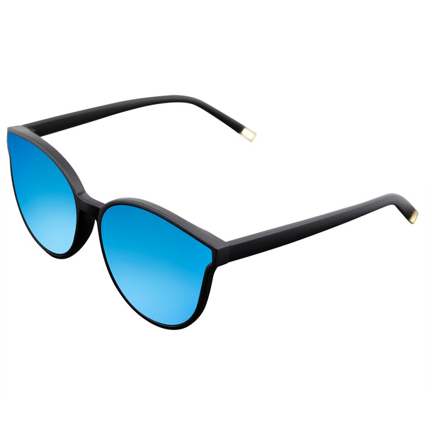 Emblem Eyewear - Retro Modern Horned Rim Mirrored Flat Infinity Lens Sunglasses