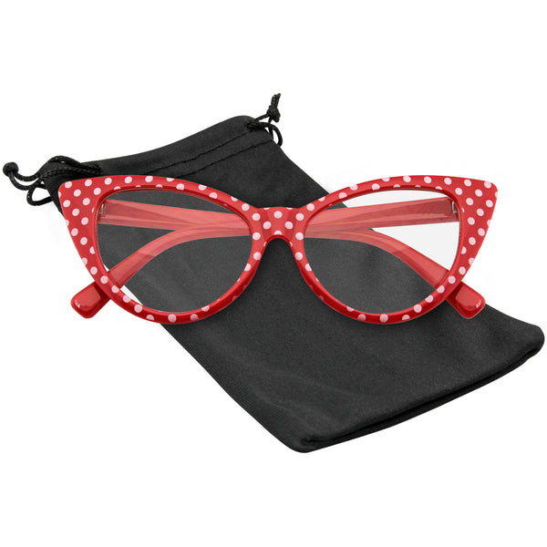 Emblem Eyewear Red Polka Dot Cat Eye Womens Fashion Mod Super Cat Glasses.jpg