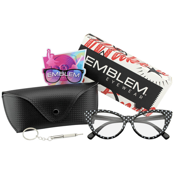 Emblem Eyewear Black Polka Dot Cat Eye Womens Fashion Mod Super Cat Glasses