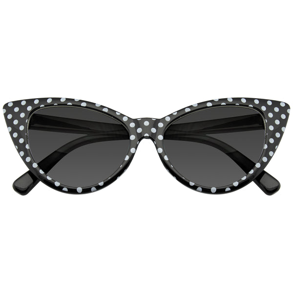Emblem Eyewear Black Polka Dot Cat Eye Womens Fashion Mod Super Cat Sunglasses.jpg