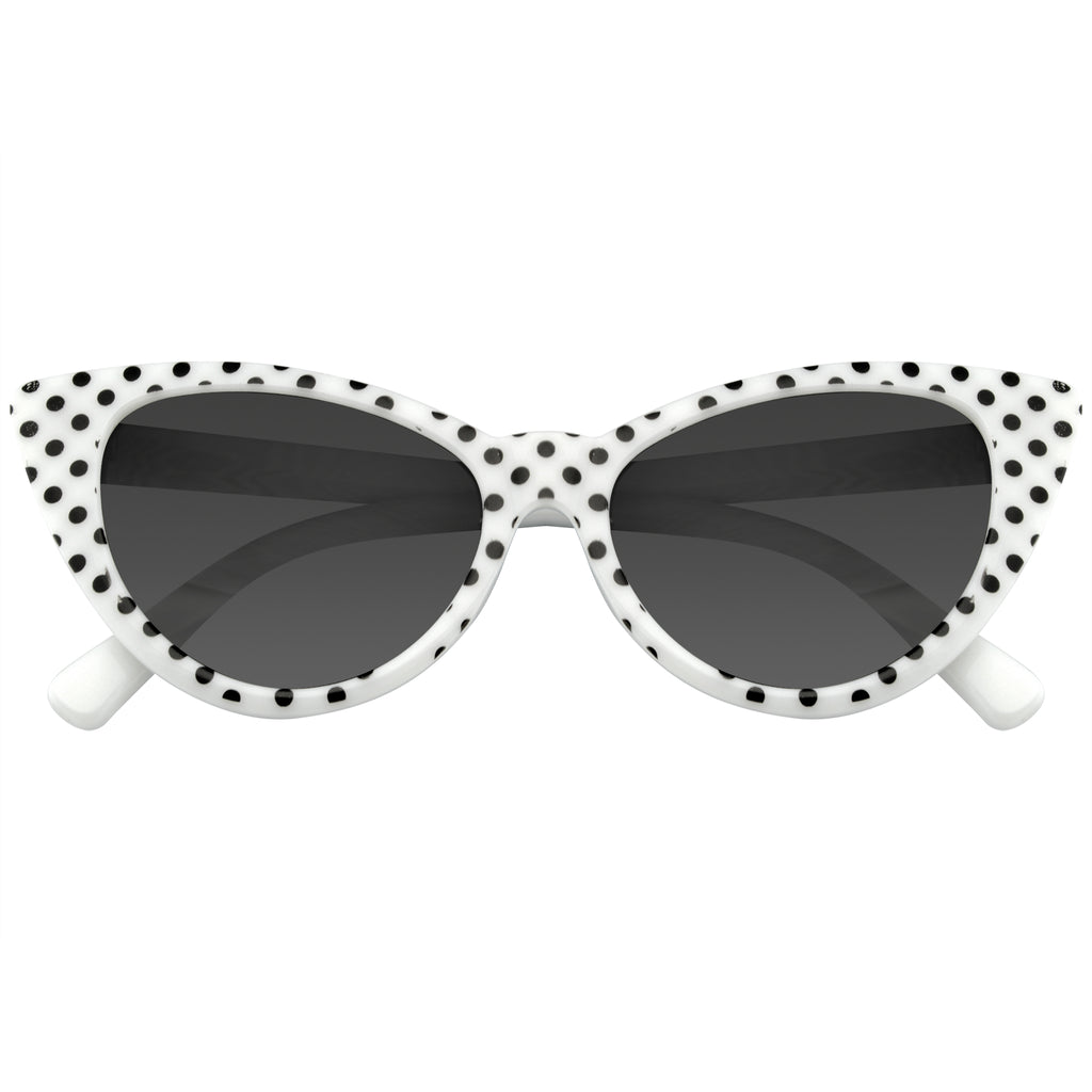 Emblem Eyewear White Polka Dot Cat Eye Womens Fashion Mod Super Cat Sunglasses