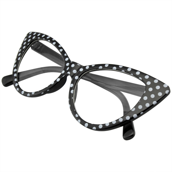 Emblem Eyewear Black Polka Dot Cat Eye Womens Fashion Mod Super Cat Glasses.jpg