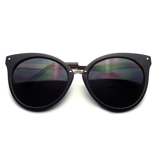 Emblem Eyewear Pointed Horn Rimmed Indie Retro Cat Eye Sunglasses Metal Studs Matte