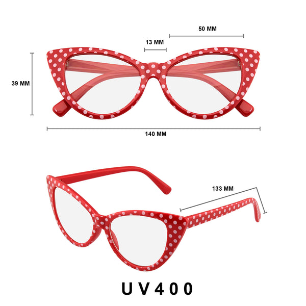 Emblem Eyewear Red Polka Dot Cat Eye Womens Fashion Mod Super Cat Glasses