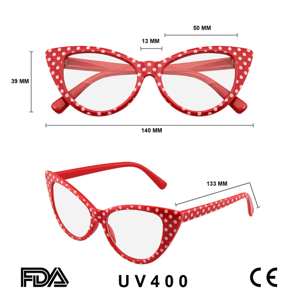 Polka Dot Super Cat Eye Glasses Vintage Inspired Fashion Mod Clear Lens Eyewear