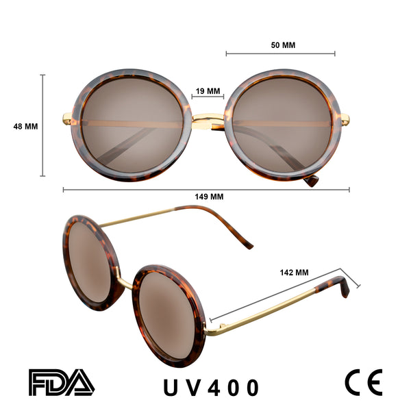 Retro Round Sunglasses | Emblem Eyewear - New Round Circle Fashion Designer Celebrity Womans Sunglasses