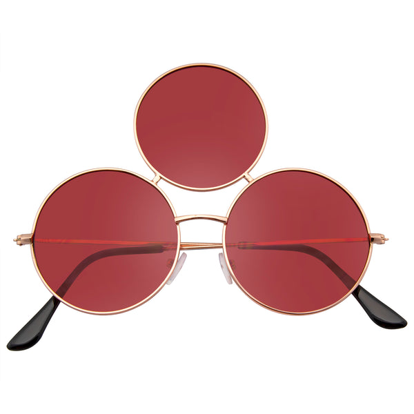 Emblem Eyewear - Novelty Oversize Triple Round Circle Color Tone Sunglasses