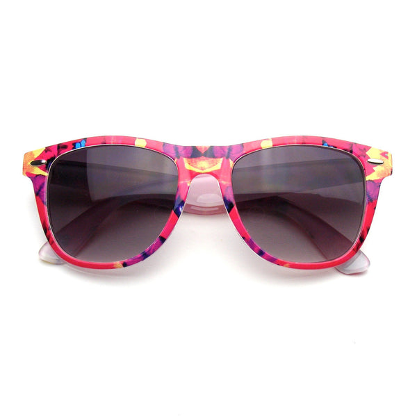 Red Flower Retro Indie Fun Color Pattern Print Wayfarer Sunglasses Shop Emblem Eyewear!
