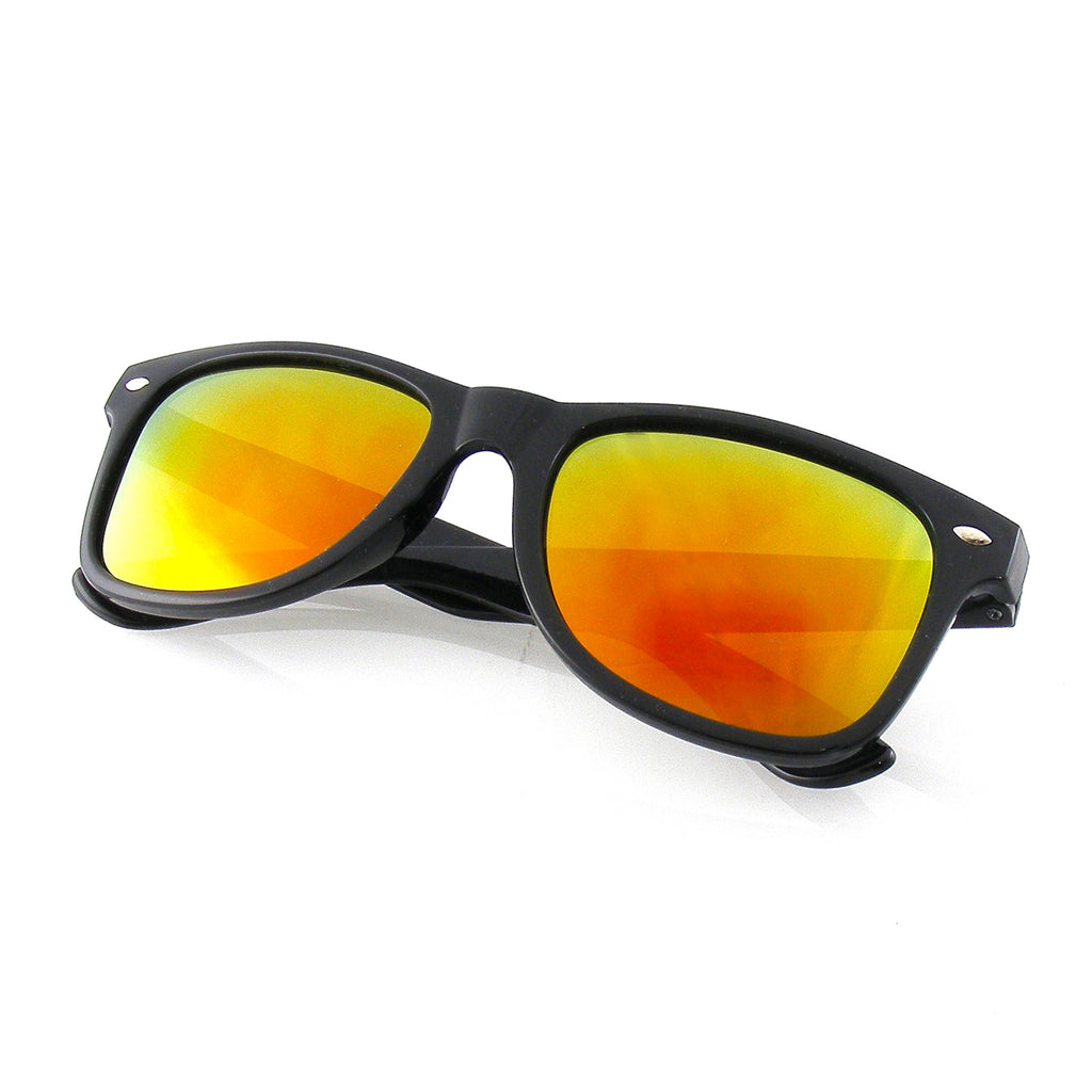 Polarized Sunglasses | Emblem Eyewear - Black Flash Reflective Polarized Horned Rim Sunglasses