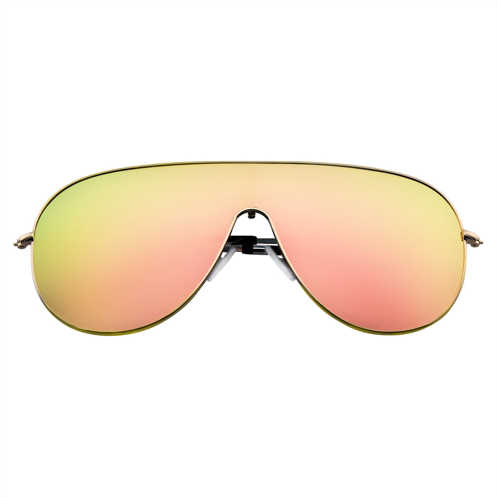 Emblem Eyewear - Futuristic Retro Modern Mirrored Flat Lens Oversized Shield Sunglasses