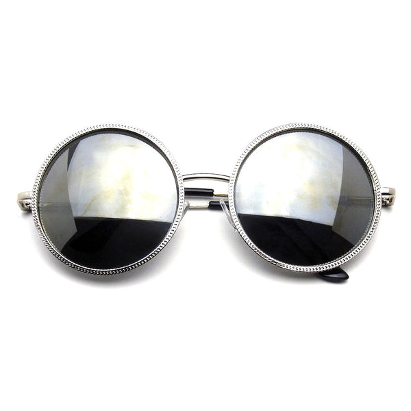 Silver Designer Round Metal Fashion Inspired Sunglasses Emblem Eyewear