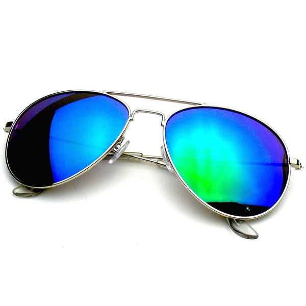 Mens Vintage Sunglasses | Silver Green Classic Reflective Revo Mirror Aviator Sunglasses Shop Emblem Eyewear!