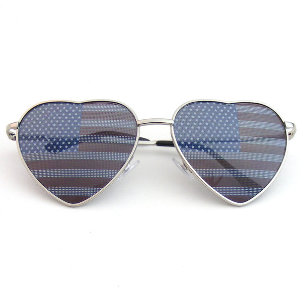 Silver Heart Independence Day American Flag Sunglasses Shop Emblem Eyewear!