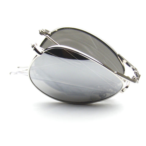Silver Mirror Folding Pocket Metal Aviator Sunglasses Shop Emblem Eyewear!