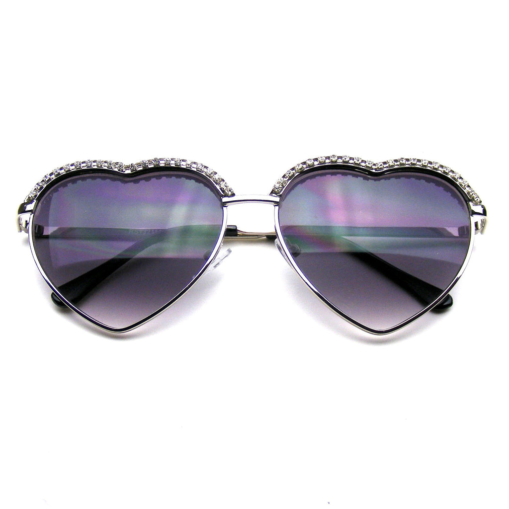 377a894279d3 Cute Chic Heart Shape Glam Rhinestone Aviator Sunglasses