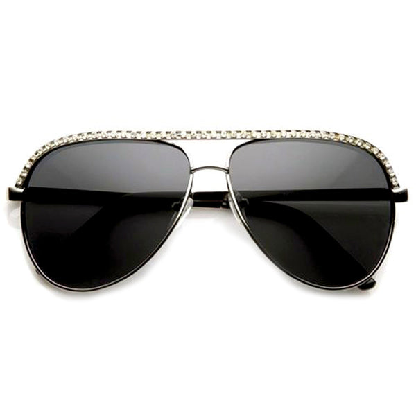 Silver Rhinestones Womens Aviator Metal Sunglasses Shop Emblem Eyewear