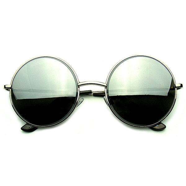 Silver Round Metal REVO Mirrored Lens Sunglasses Shop Emblem Eyewear!