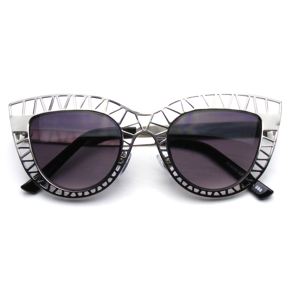 Silver Womens Indie Cat Eye Sunglasses Trendy Fashion Metal Cut Out Shop Emblem Eyewear!
