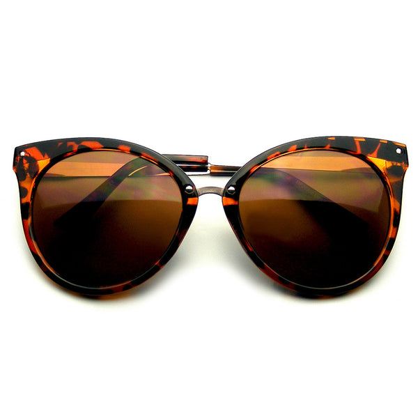 Emblem Eyewear Pointed Horn Rimmed Indie Retro Cat Eye Sunglasses Metal Studs Tortoise