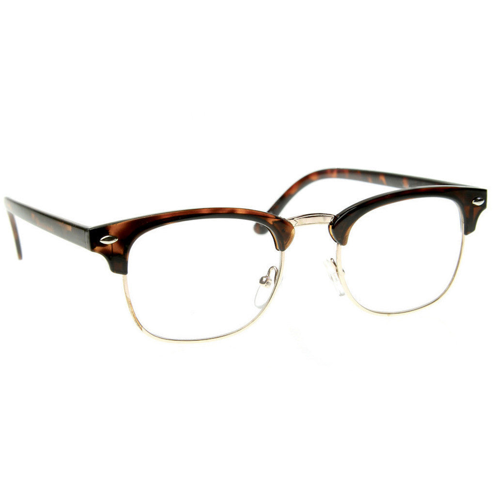 Half Frame Glasses Brown : Black Brown Tortoise Clubs master Half Frame Metal Frame ...