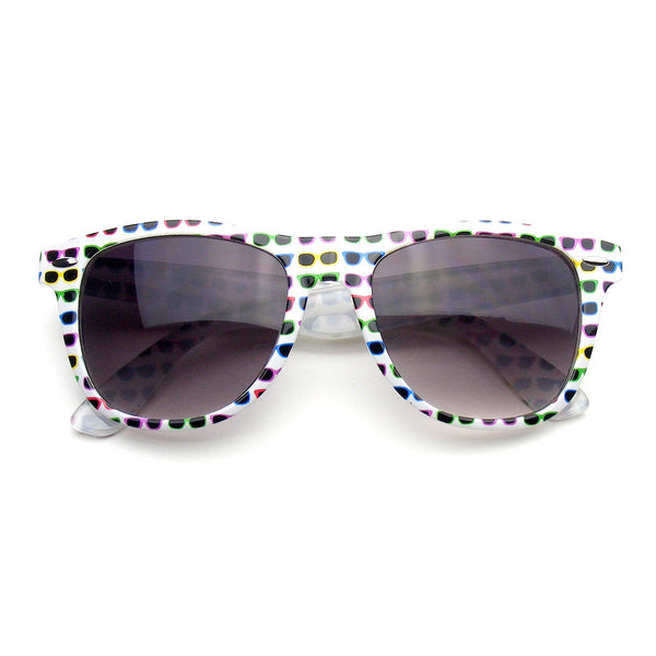 White Sunglasses Retro Indie Fun Color Pattern Print Wayfarer Sunglasses Shop Emblem Eyewear!