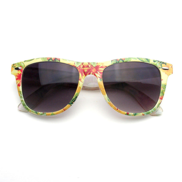 Yellow Flower Retro Indie Fun Color Pattern Print Wayfarer Sunglasses Shop Emblem Eyewear!
