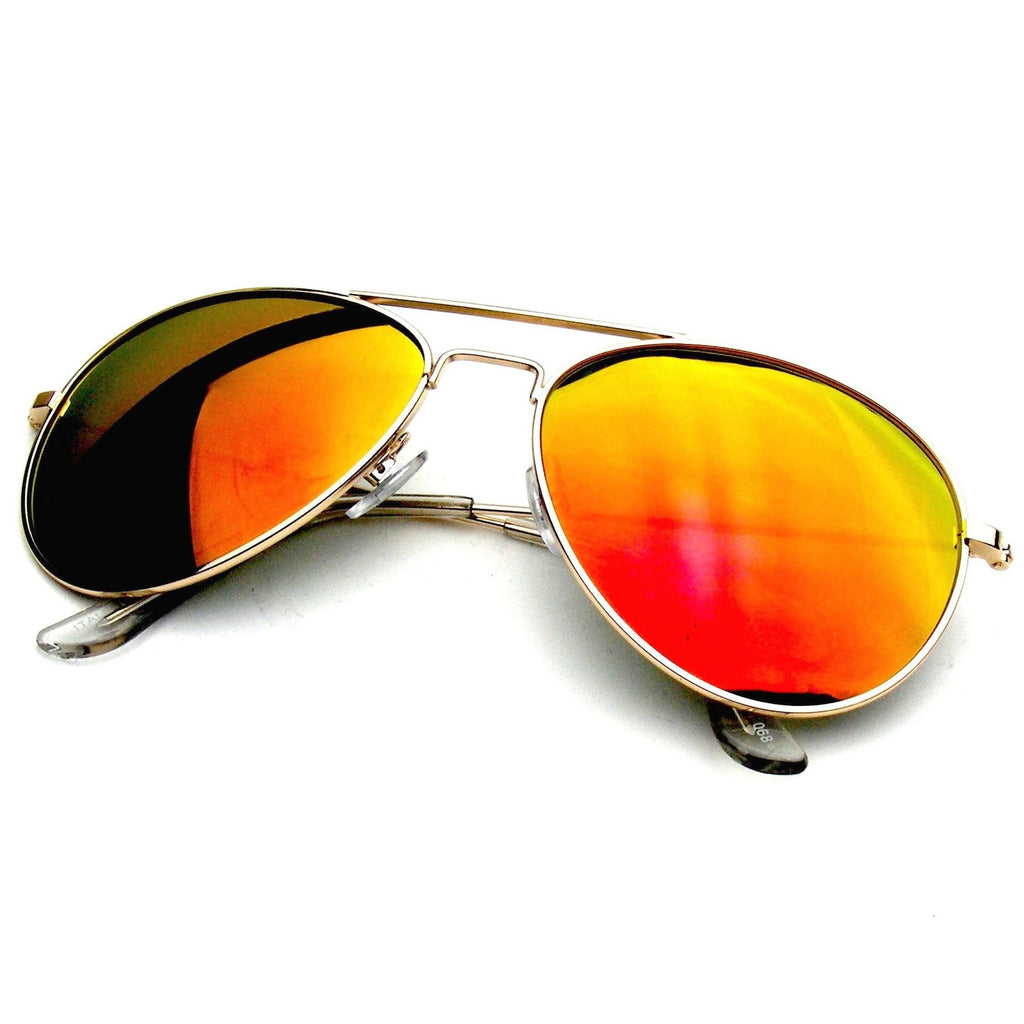 Gold Red Classic Reflective Revo Mirror Aviator Sunglasses Shop Emblem Eyewear!