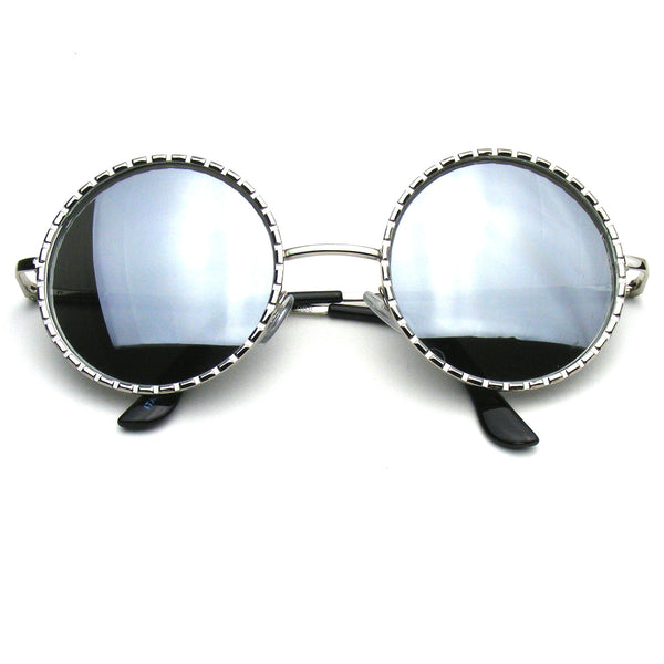 Designer Inspired Fashion Round Metal Vintage Circle Sunglasses by Emblem Eyewear