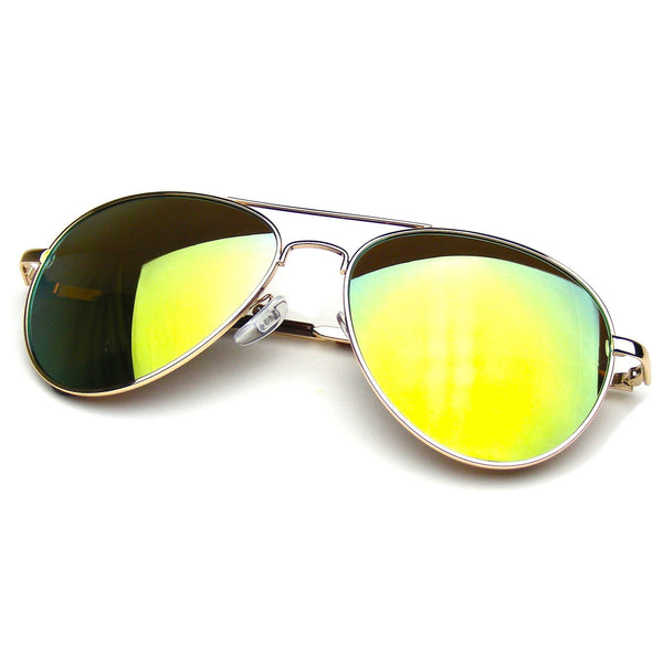 Flash Revo Mirrored Lens Premium Metal Frame Aviator Sunglasses by Emblem Eyewear