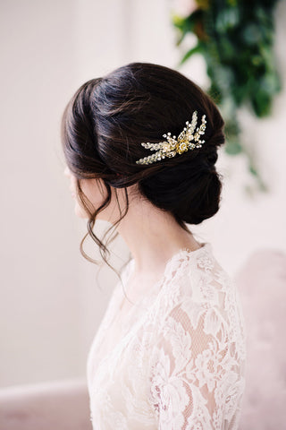 bridal gold comb