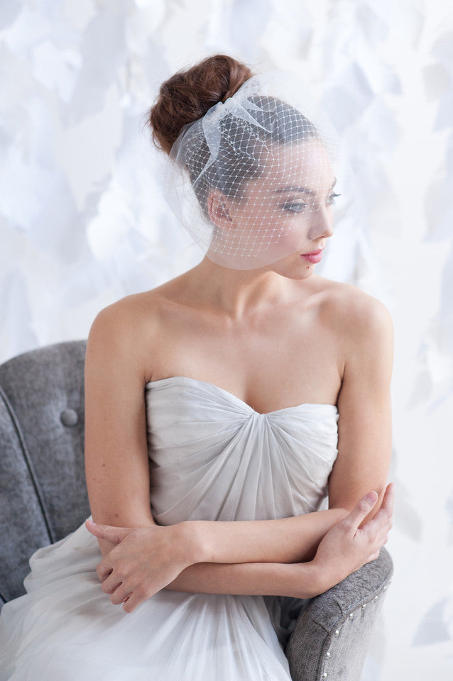 Mini double layer birdcage veil - ready to ship - Tessa Kim