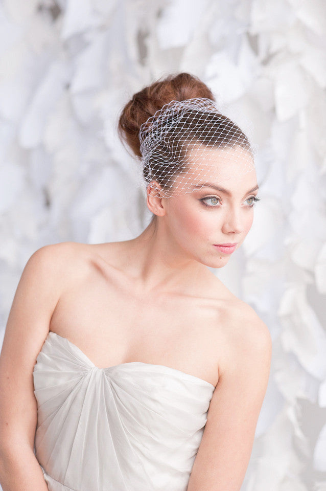 Bandeau birdcage veil - ready to ship - Tessa Kim