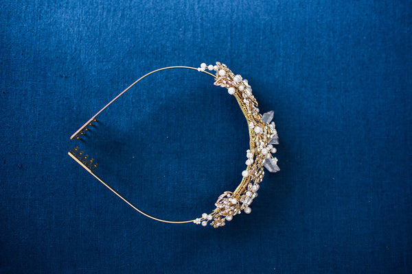 gold headpiece quartz