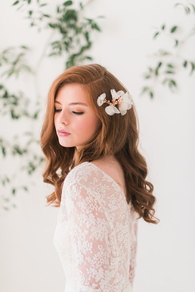 Rose gold floral hair comb - Style 3006 - Tessa Kim