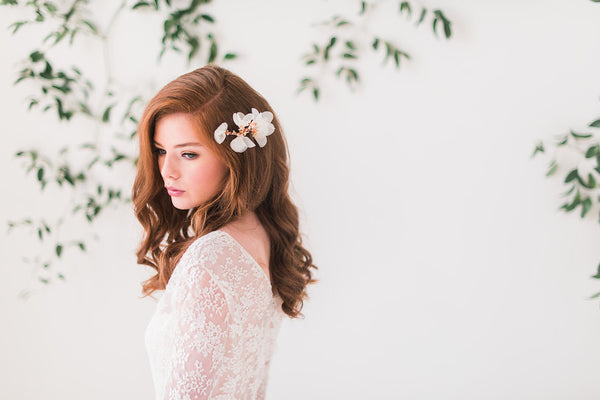 chiffon rose gold headpiece