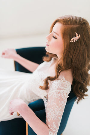 Rose gold floral hair comb - Style 3007 - Tessa Kim